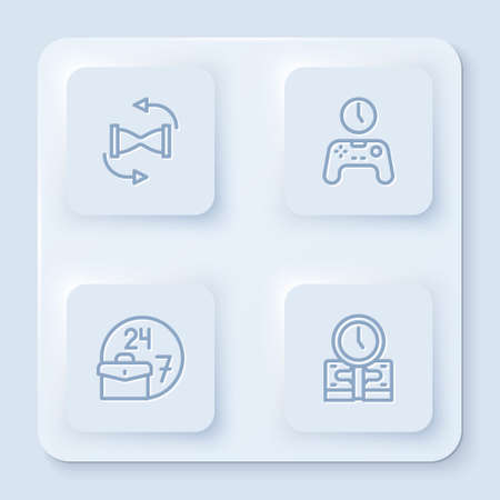Set line Old hourglass with sand, Gamepad of time, Always busy and Time is money. White square button. Vector