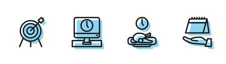 Set line Food time, Target sport, Monitor and Calendar icon. Vector