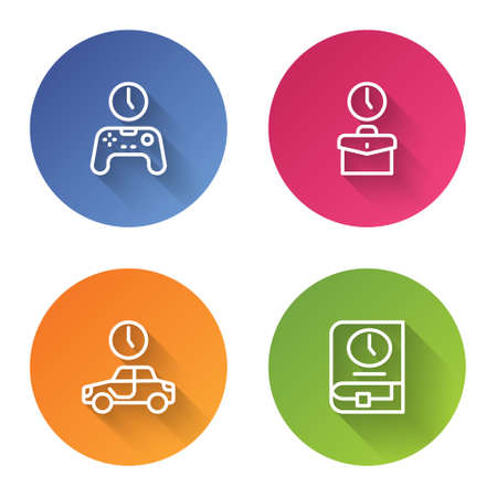 Set line Gamepad of time, Work, Time to travel and for book. Color circle button. Vector