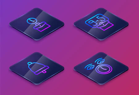 Set Isometric line Work time, Ringing bell, From 9 and Clock. Blue square button. Vector