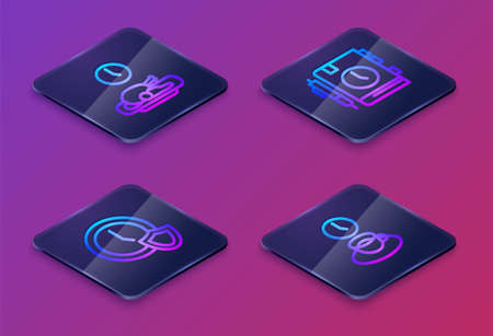 Set Isometric line Food time, Clock with shield, Daily paper notepad and Coffee. Blue square button. Vector