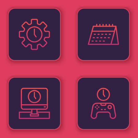 Set line Time Management, Monitor time, Calendar and Gamepad of. Blue square button. Vector Çizim