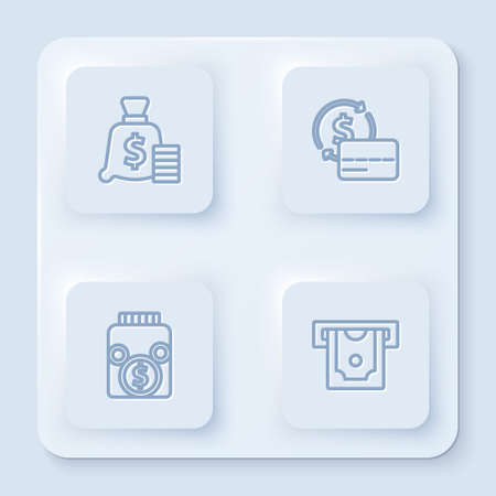 Set line Money bag, Credit card, Glass money jar with coin and ATM and. White square button. Vector Çizim