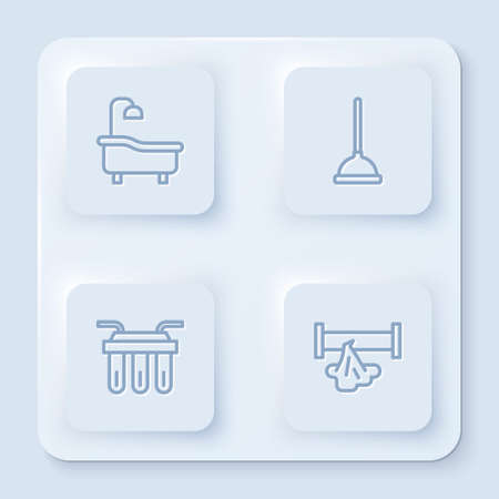 Set line Bathtub, Rubber plunger, Water filter and Broken pipe. White square button. Vector
