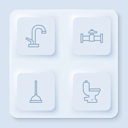Set line Water tap, Industry pipe and valve, Rubber plunger and Toilet bowl. White square button. Vector