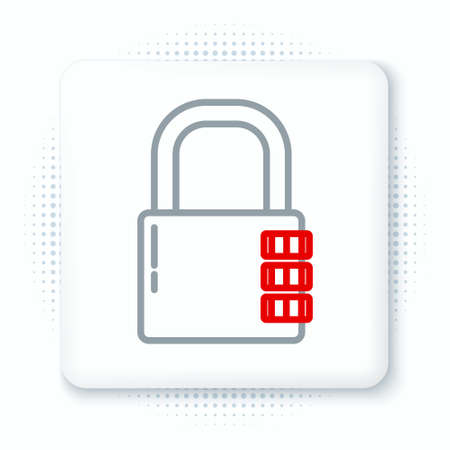 Line Safe combination lock icon isolated on white background. Combination padlock. Security, safety, protection, password, privacy. Colorful outline concept. Vector
