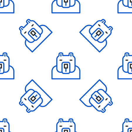 Line Polar bear head icon isolated seamless pattern on white background. Colorful outline concept. Vector 일러스트
