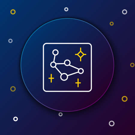 Line Great Bear constellation icon isolated on blue background. Colorful outline concept. Vector