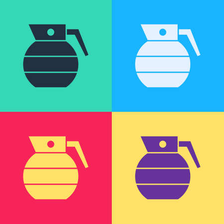 Pop art Hand grenade icon isolated on color background. Bomb explosion. Vector