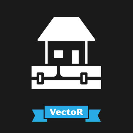 White Water supply pipes and house icon isolated on black background. Vector