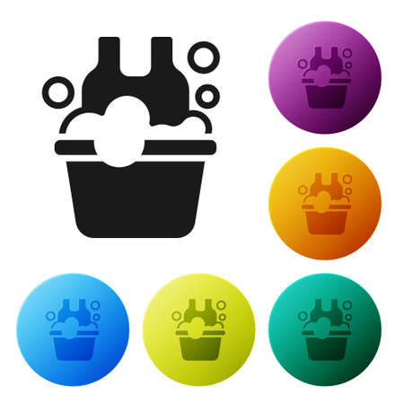 Black Plastic basin with soap suds icon isolated on white background. Bowl with water. Washing clothes, cleaning equipment. Set icons in color circle buttons. Vector Çizim
