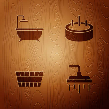 Set Shower head, Bathtub, Sauna bucket and Swimming pool with ladder on wooden background. Vector 일러스트