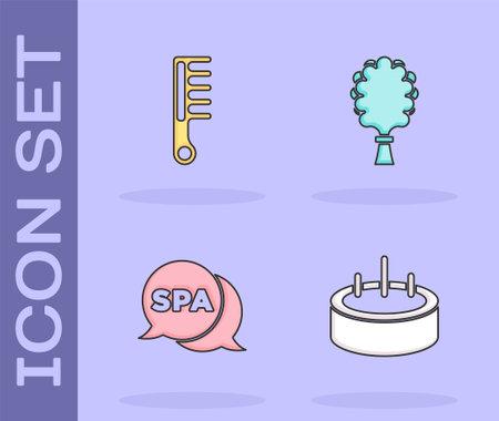 Set Swimming pool with ladder, Hairbrush, Spa salon and Sauna broom icon. Vector 일러스트