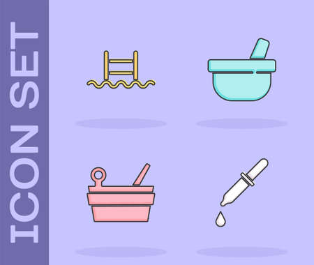 Set Pipette, Swimming pool with ladder, Sauna bucket and ladle and Mortar pestle icon. Vector
