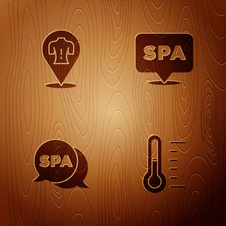 Set Sauna thermometer, Massage, Spa salon and on wooden background. Vector Çizim