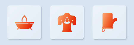 Set Massage with aroma oils, Aroma candle and Sauna mittens. White square button. Vector