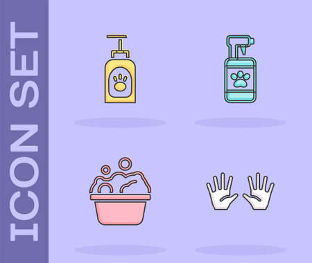 Set Medical rubber gloves, Pet shampoo, Pets bath and icon. Vector