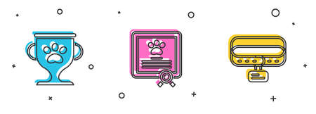 Set Pet award, Certificate for dog or cat and Collar with name tag icon. Vector