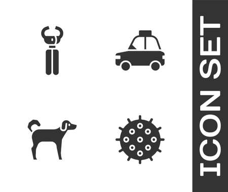 Set Tennis ball, Pet nail clippers, Dog and car taxi icon. Vector