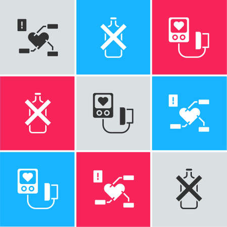 Set Attention to health heart, No alcohol and Blood pressure icon. Vector