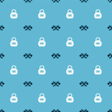 Set No junk food and Kettlebell on seamless pattern. Vector