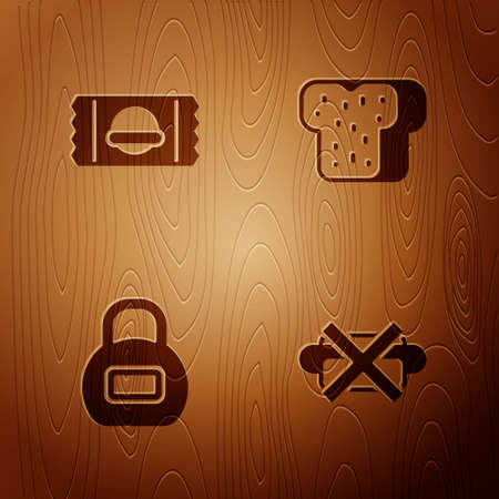 Set No junk food, Sports nutrition, Kettlebell and Bread toast on wooden background. Vector