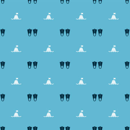 Set Rubber flippers and Floating buoy on the sea on seamless pattern. Vector
