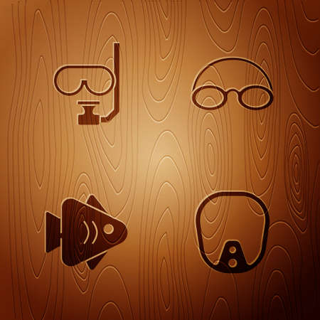 Set Diving mask, and snorkel, Fish and Glasses cap on wooden background. Vector