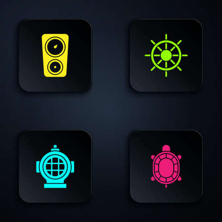 Set Turtle, Gauge scale, Aqualung and Ship steering wheel. Black square button. Vector 일러스트