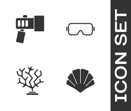 Set Scallop sea shell, Flashlight, Coral and Diving mask icon. Vector