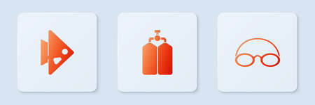 Set Aqualung, Fish and Glasses and cap. White square button. Vector