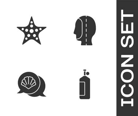 Set Aqualung, Starfish, Scallop sea shell and Diving hood icon. Vector Çizim