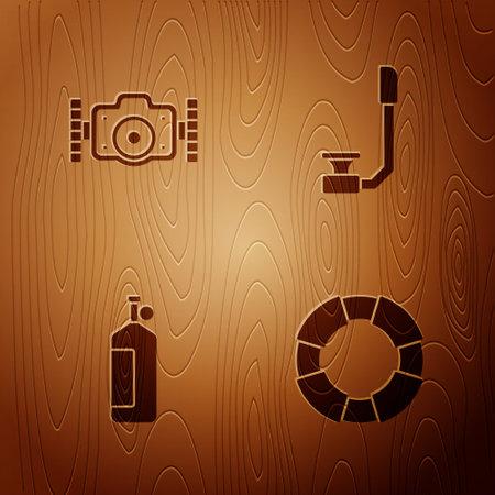 Set Lifebuoy, Photo camera, Aqualung and Snorkel on wooden background. Vector 일러스트