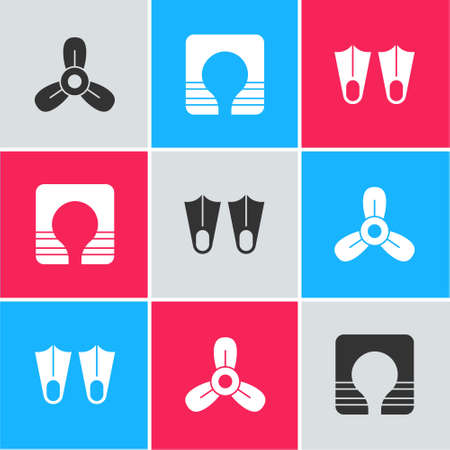Set Boat propeller, turbine, Life jacket and Rubber flippers icon. Vector