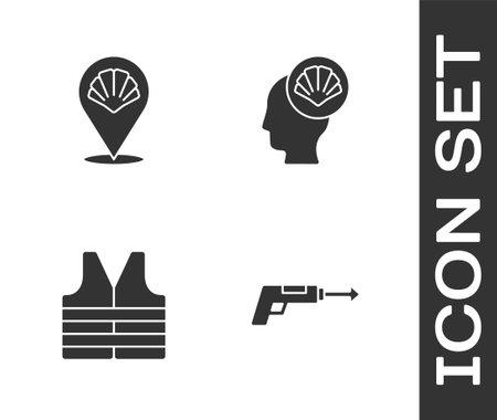 Set Fishing harpoon, Scallop sea shell, Life jacket and icon. Vector