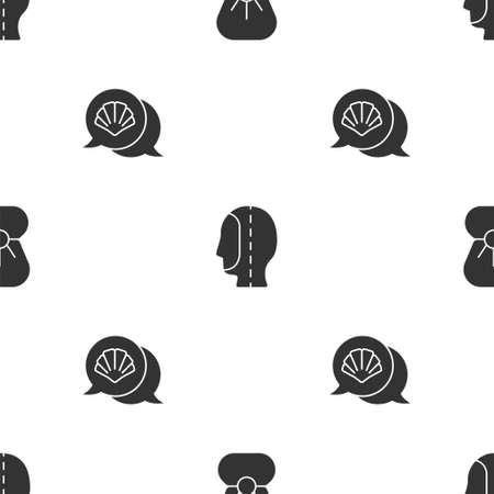 Set Shell with pearl, Diving hood and Scallop sea shell on seamless pattern. Vector 일러스트