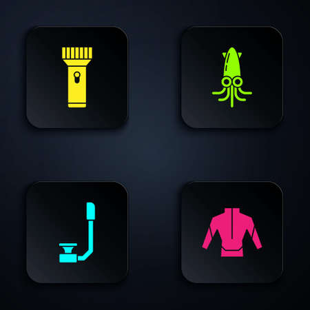 Set Wetsuit, Flashlight, Snorkel and Octopus. Black square button. Vector