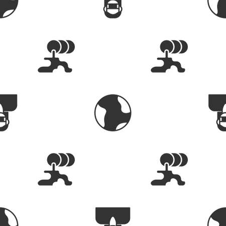 Set Face in protective mask, Earth globe and Barrel oil leak on seamless pattern. Vector 일러스트
