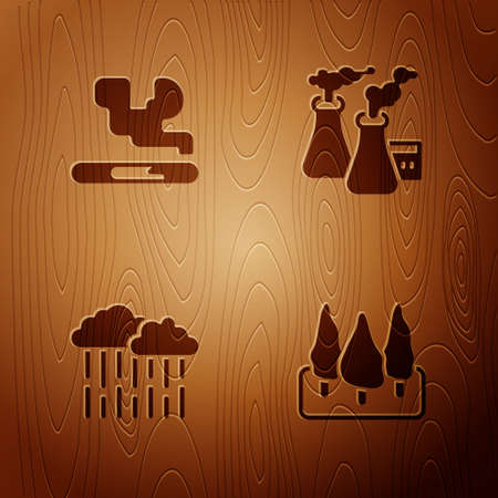 Set Forest, Cigarette, Cloud with rain and Smoke from factory on wooden background. Vector 일러스트