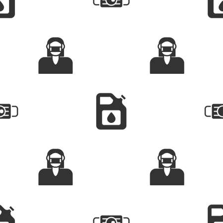 Set Medical protective mask, Canister for gasoline and Face on seamless pattern. Vector