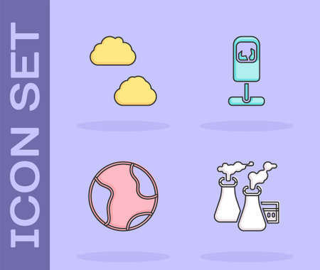 Set Smoke from factory, Cloud, Earth globe and Trash can icon. Vector