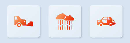 Set Cloud with rain, Car exhaust and . White square button. Vector 일러스트