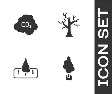 Set Tree, CO2 emissions in cloud, Deforestation and Withered tree icon. Vector 일러스트