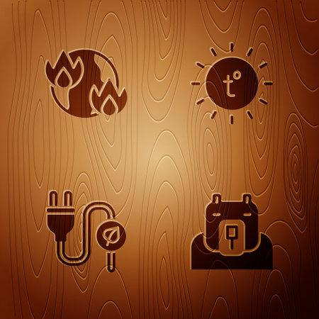 Set Polar bear head, Global warming fire, Electric saving plug leaf and Sun on wooden background. Vector 일러스트