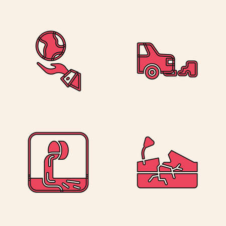 Set Earthquake, Hands holding globe, Car exhaust and Wastewater icon. Vector