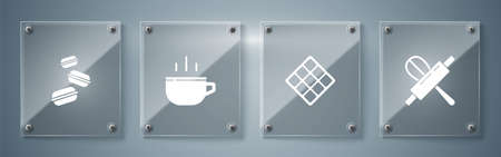Set Kitchen whisk and rolling pin, Waffle, Coffee cup and Macaron cookie. Square glass panels. Vector 일러스트