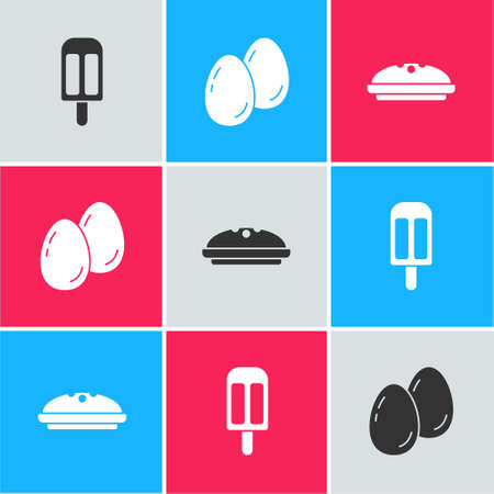 Set Ice cream, Easter eggs and Homemade pie icon. Vector