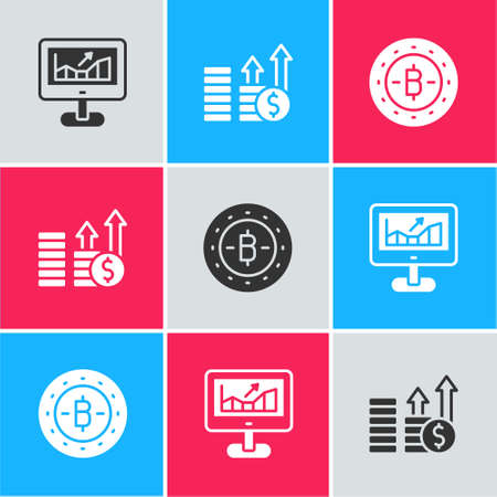 Set Computer with growth graph, Financial and dollar and Bitcoin icon. Vector Vector Illustration