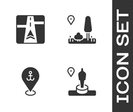 Set Location and monument, Gps device with map, anchor and City navigation icon. Vector