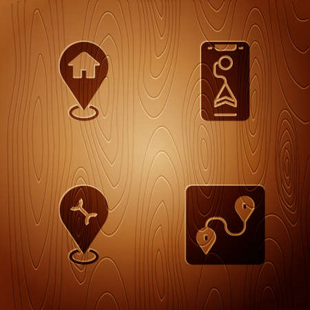 Set Route location, Location with house, Car service and City map navigation on wooden background. Vector
